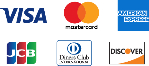 VISA・Mastercard・American Express・JCB・Diners Club・Discover